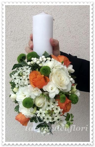 Lumanari de nunta scurte din trandafiri portocalii.1206